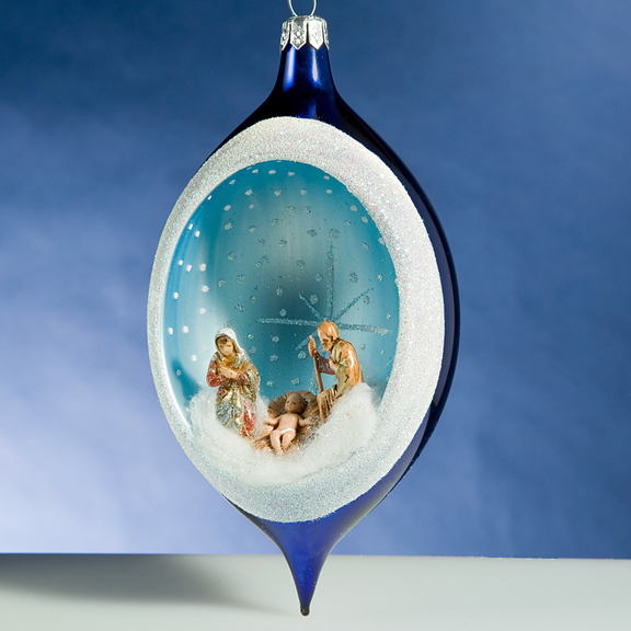 Nativity At Night Glass Ball Religious Christmas Ornament: De Carlini Blue Nativity Drop Italian Ornament